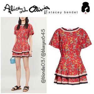 "Alice + Olivia ""Palmira"" tiered ruffle dress 6 NWT"